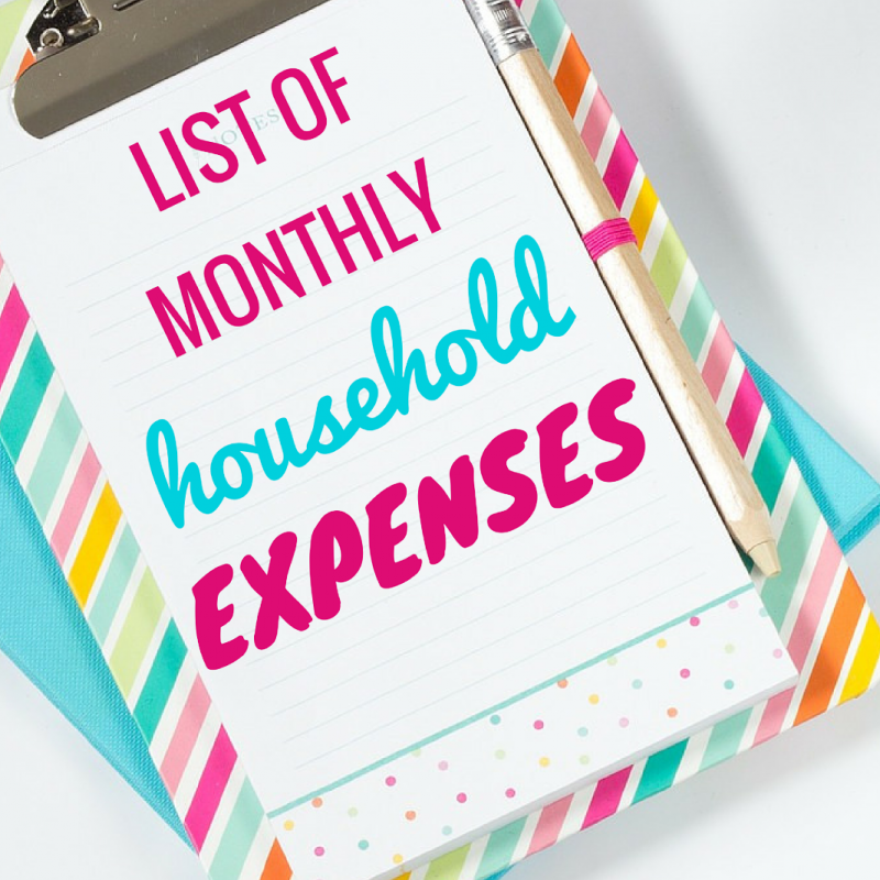 List of Monthly Household Expenses