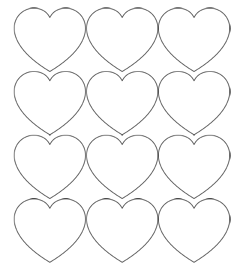 small and medium heart stencils - Stencil Printouts Free