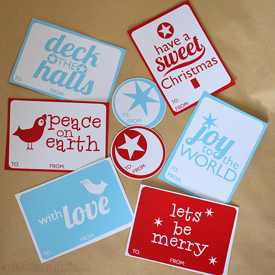 Christmas gift tags to print out from Picklebums