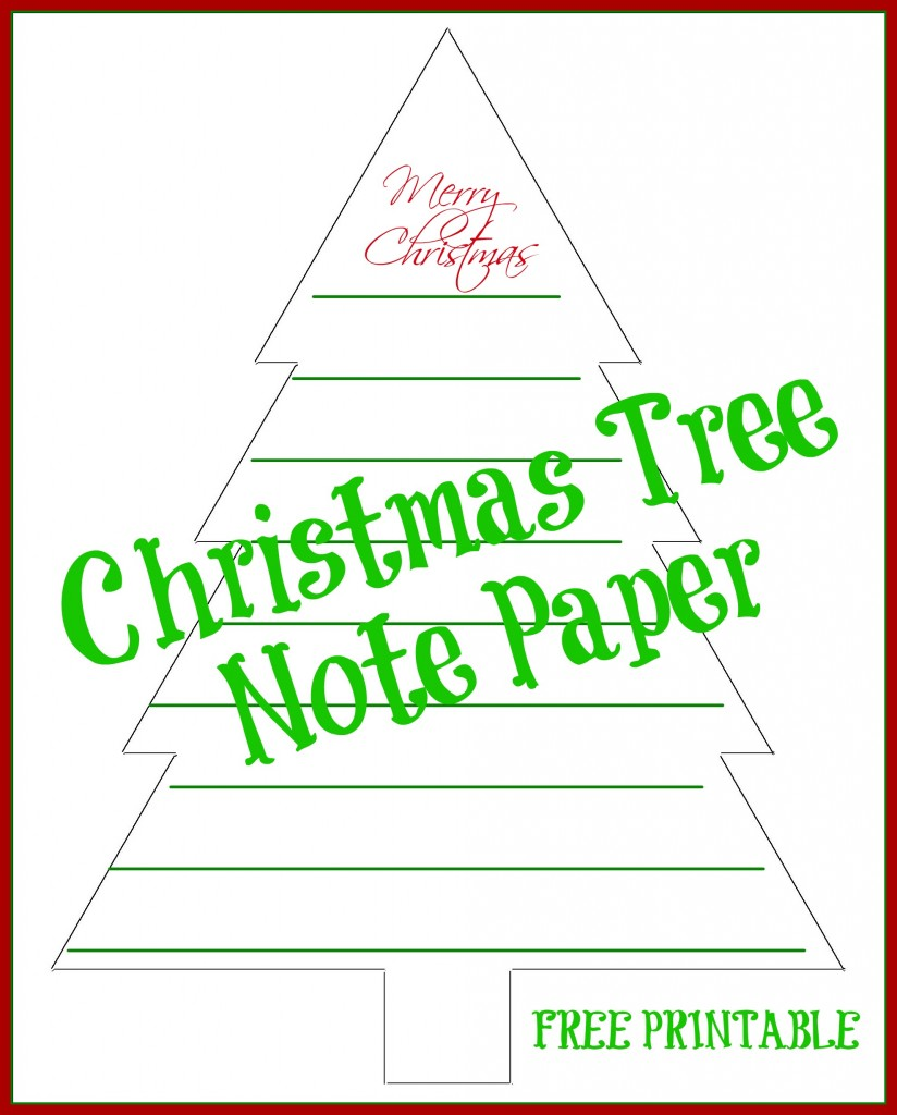Free Printable Christmas Tree Lined Note Paper