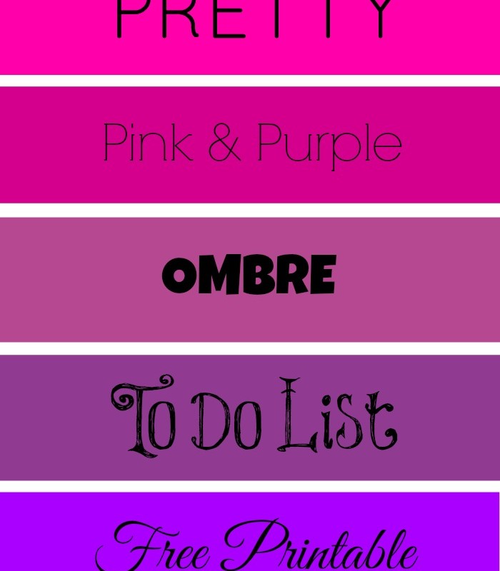 Pretty To Do List – Pink & Purple Ombre Printable