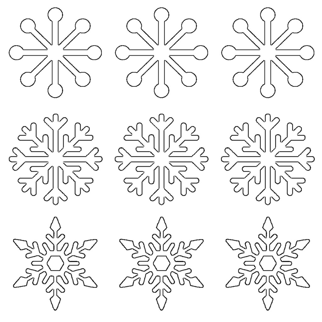 Free Printable Snowflake Templates Large Small Stencil Patterns on Shape Print Outs