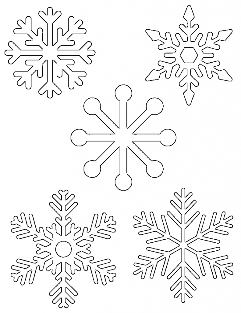 5 small snowflakes on one page - Christmas Snowflake Coloring Pages