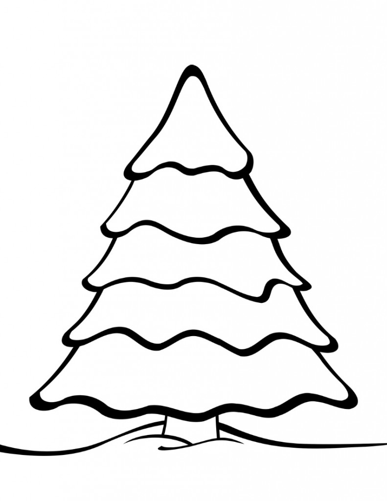 printable christmas tree templates plain tree coloring page