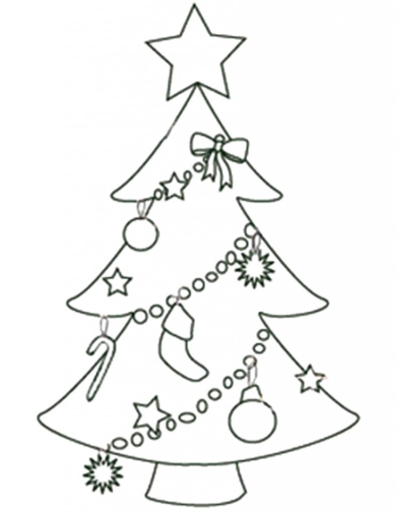 Tree With Ornaments Coloring Page