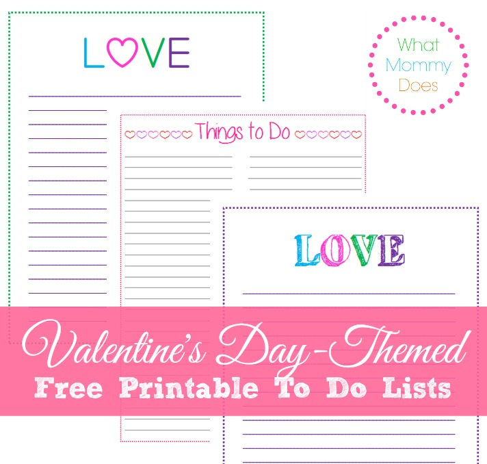 Valentine's Day Templates - Free Printable to do lists