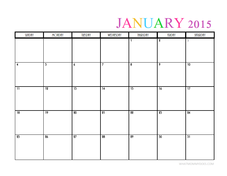 Cute & Colorful Printable January 2015 Calendar