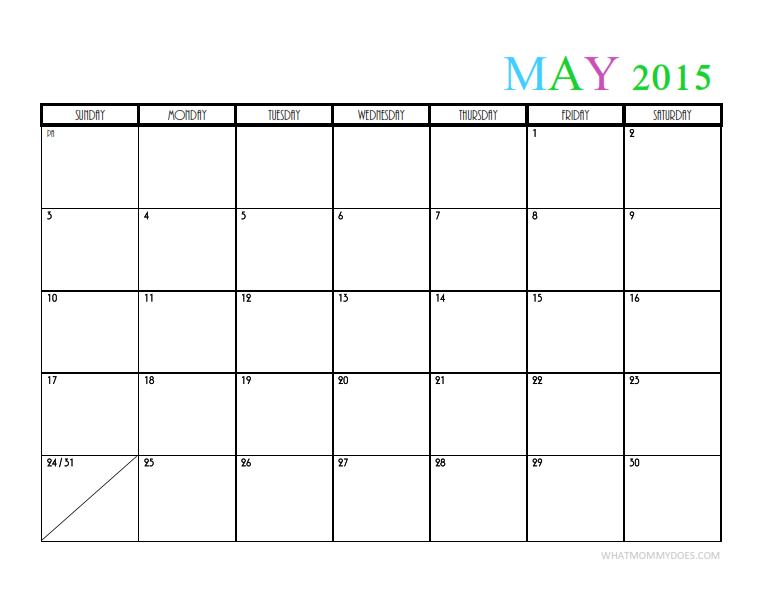 2015 Monthly Calendar Templates
