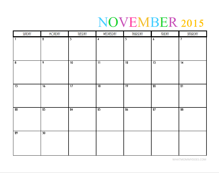 2015 Monthly Calendar Templates