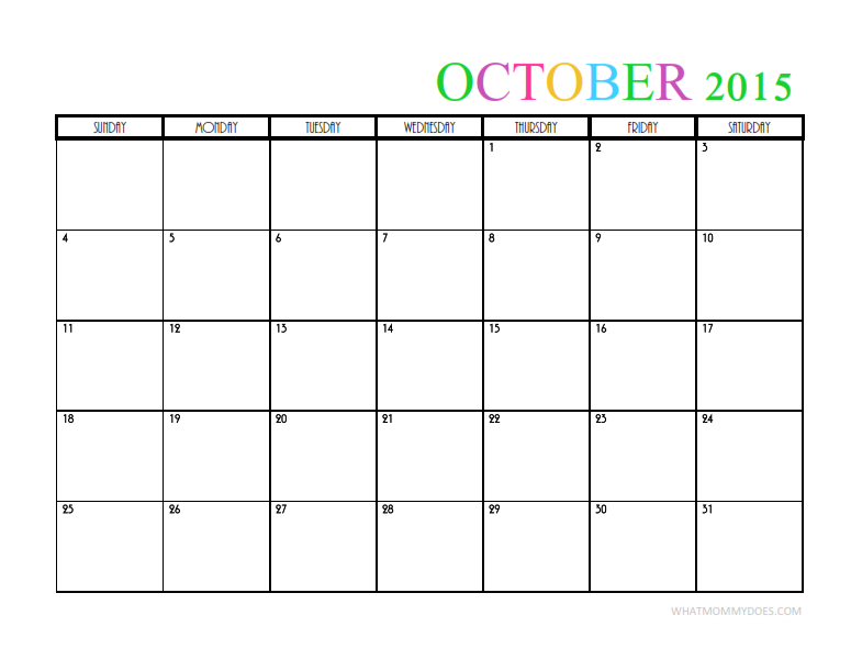 2015 Calendar Template | 2015 Monthly Calendar Templates