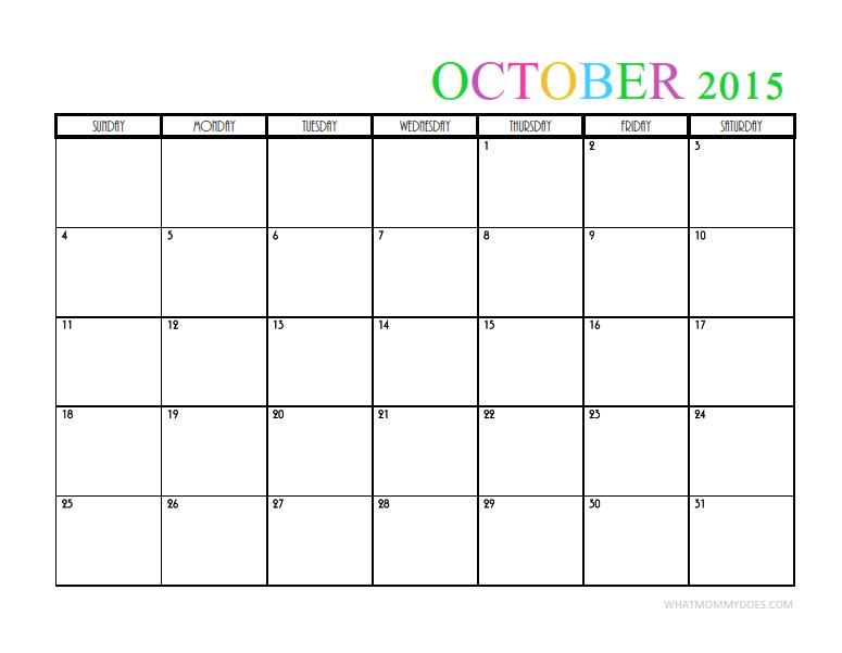 October Calendar Template 2015 : Monthly calendar templates