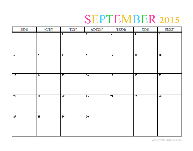 Printable 2015 Monthly Calendar Pdf | Calendar Template 2016