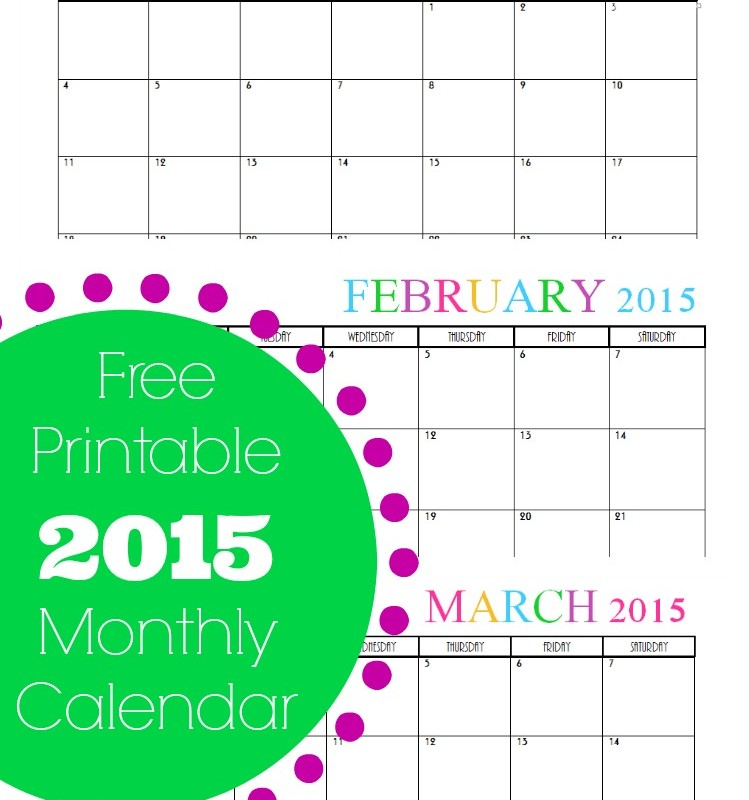 Free Printable Monthly 2015 Calendar – Cute & Colorful Template