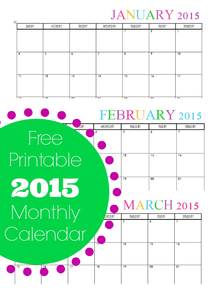 Free Printable Monthly 2015 Calendar – Free Printable Monthly Calendar