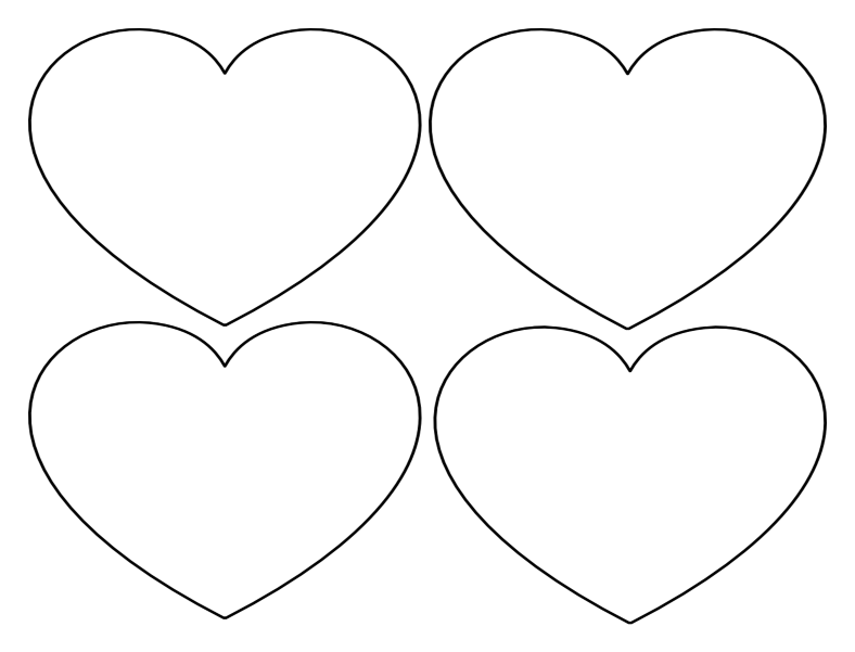 Wide heart templates 4 large outlines on one page what for Heart shaped writing template