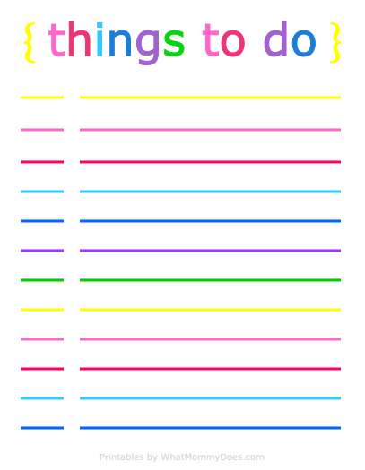 colorful printable daily to do list