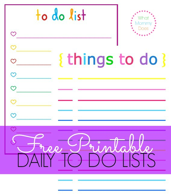Free Printable ToDo Lists Cute Colorful Templates What – Free Printable Daily to Do List Template