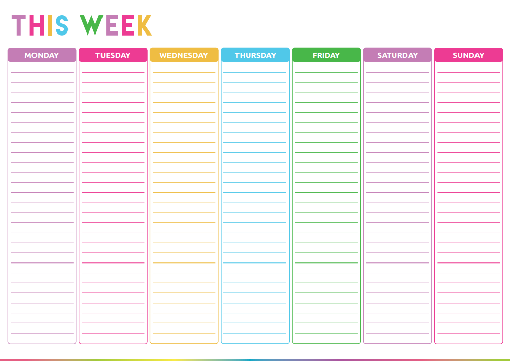 Checklist Template Cute Free Printable Weekly To Do List - Cute & Colorful Template
