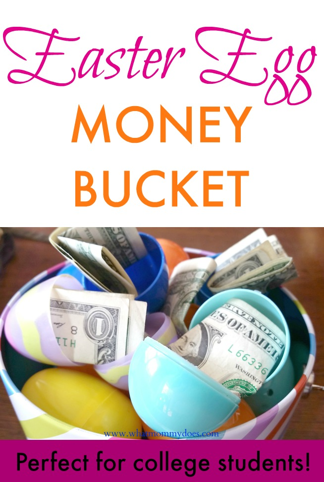 Bucket full of money filled easter eggs a cute money gift idea easter egg money bucket negle Images