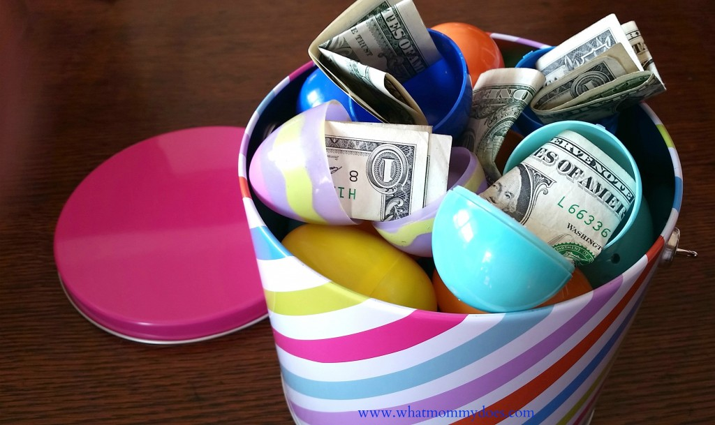 Bucket full of money filled easter eggs a cute money gift idea easter basket money1 negle Gallery