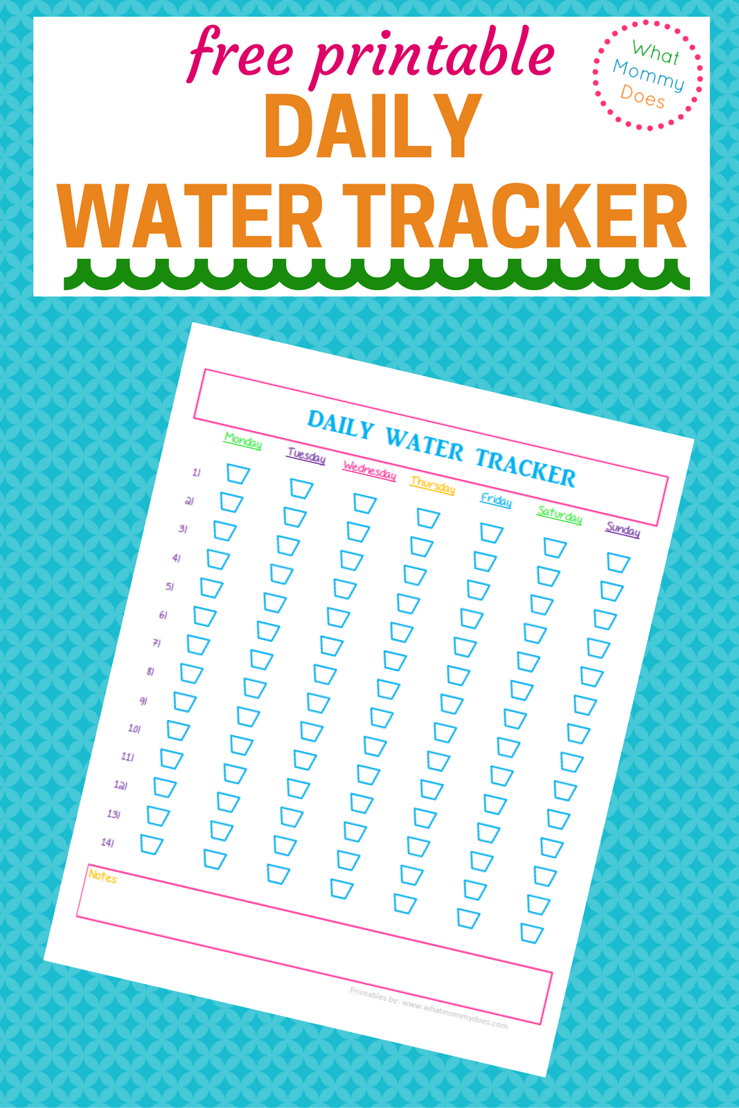 photo about Printable Water Tracker named No cost Each day H2o Tracker Printable What Mommy Does