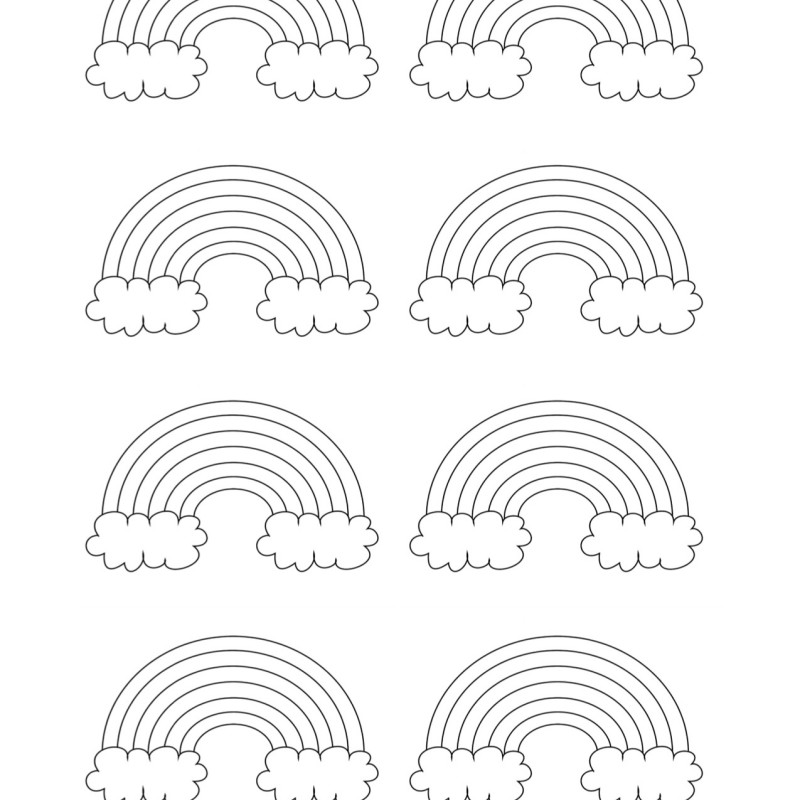 Cute Rainbow Patterns with Clouds – Free Template You Can Print!