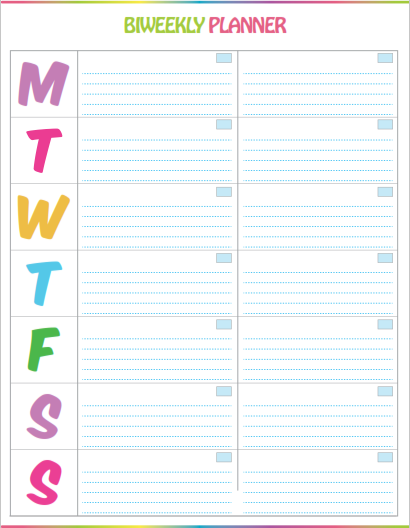 image about Printable Weekly to Do List named Free of charge Printable Bi-Weekly Planner - Adorable Colourful Template