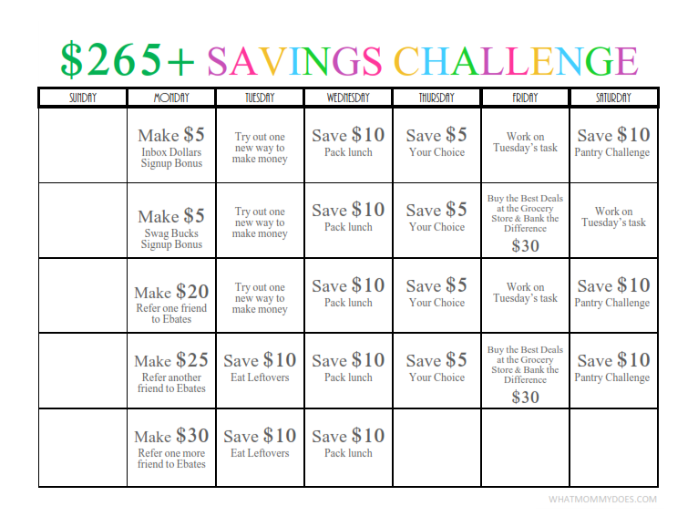 One Month to 265 Cash Savings Challenge