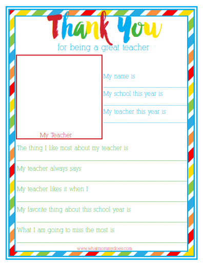 End of Year Teacher Thank You Gift - Free Printable Kid Questionnaire