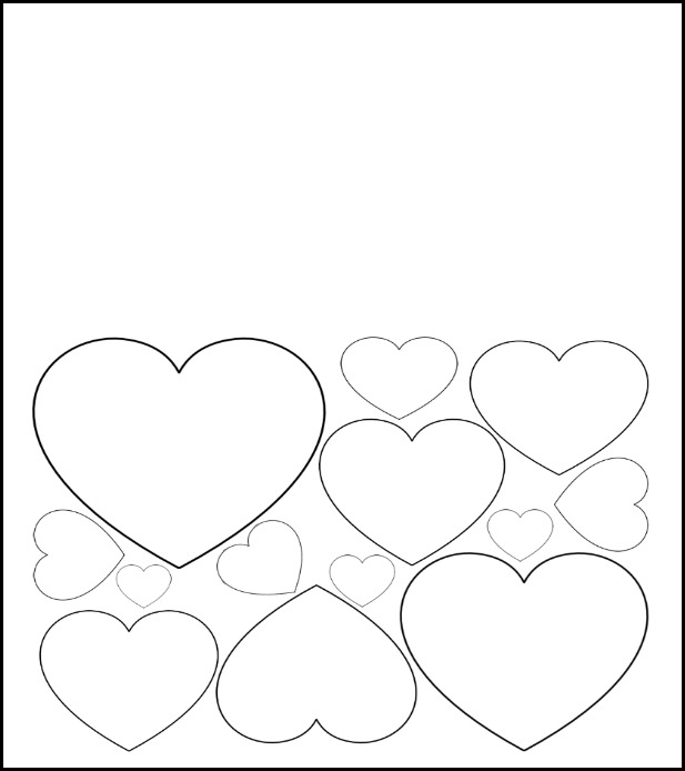 Valentineu0027s Day Card With Hearts Kids Can Color
