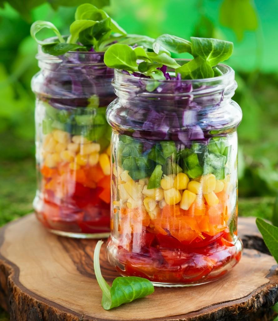 rainbow salad in a jar close up
