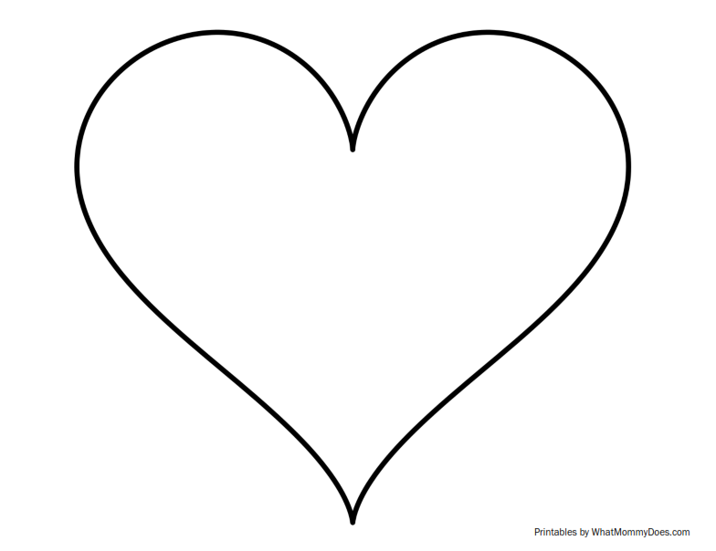 Super sized heart outline extra large printable template for Heart shaped writing template