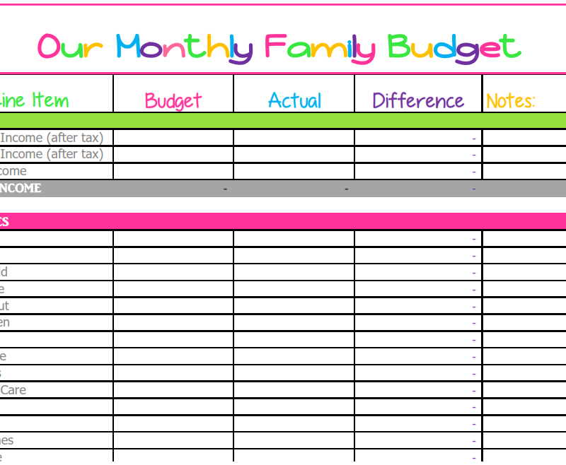 Such a cute monthly budget printable! Pre-populated with common family household expenses and subtotals, but also completely customizable if you want to! It's great for organizing finances and getting your monthly household expenses under control.