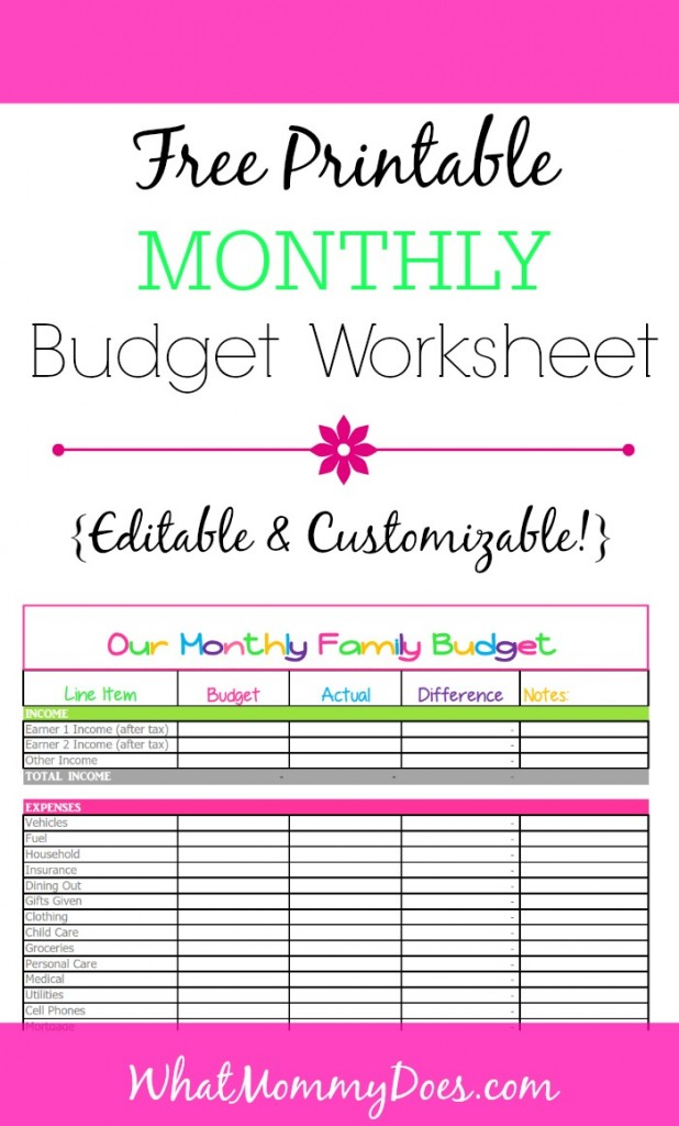 Budget Printables from WhatMommyDoes.com - This cute & colorful worksheet is perfect for tracking monthly family money spending. It's a completely customizable & editable Excel template that you can download for free and start tracking household finances today!