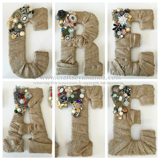 Jeweled Burlap Letters Idea 10 On A List Of 50 Crafts To Make And