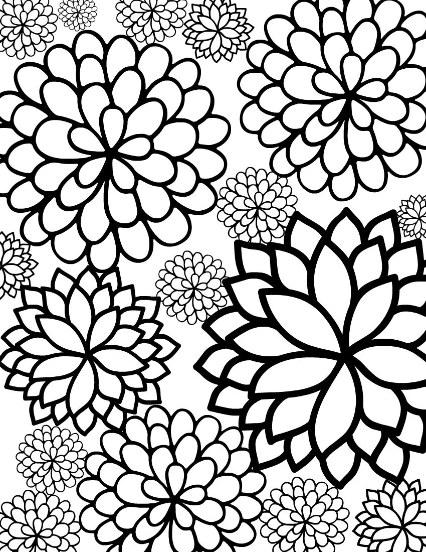 Free Printable Bursting Blossoms Flower Coloring Page Coloring Pages