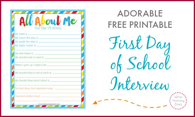 Free Printable Worksheets For First Day Of School : First day of school quot all about me interview free