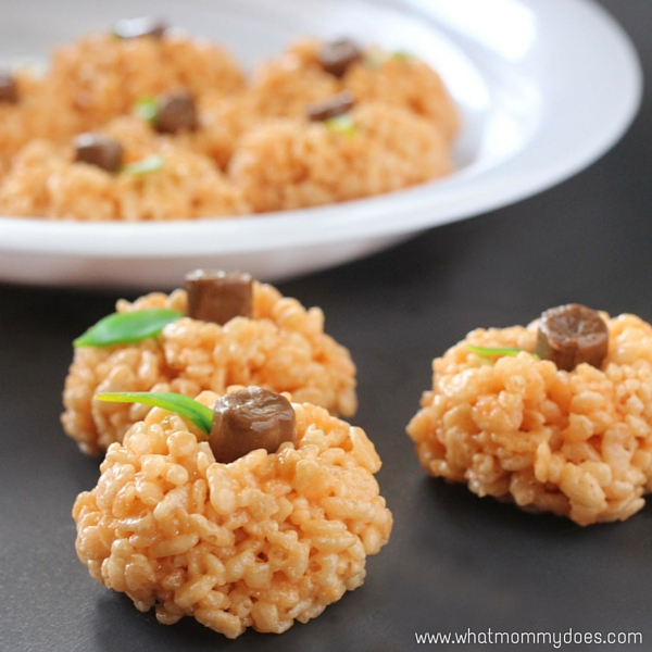 Pumpkin Rice Krispie Treats, a sweet Halloween snack for kids that also makes a great peanut-free classroom snack