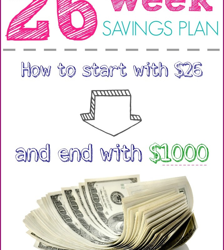 26 Week Savings Plan Printables: Start with $26, End with $1000!