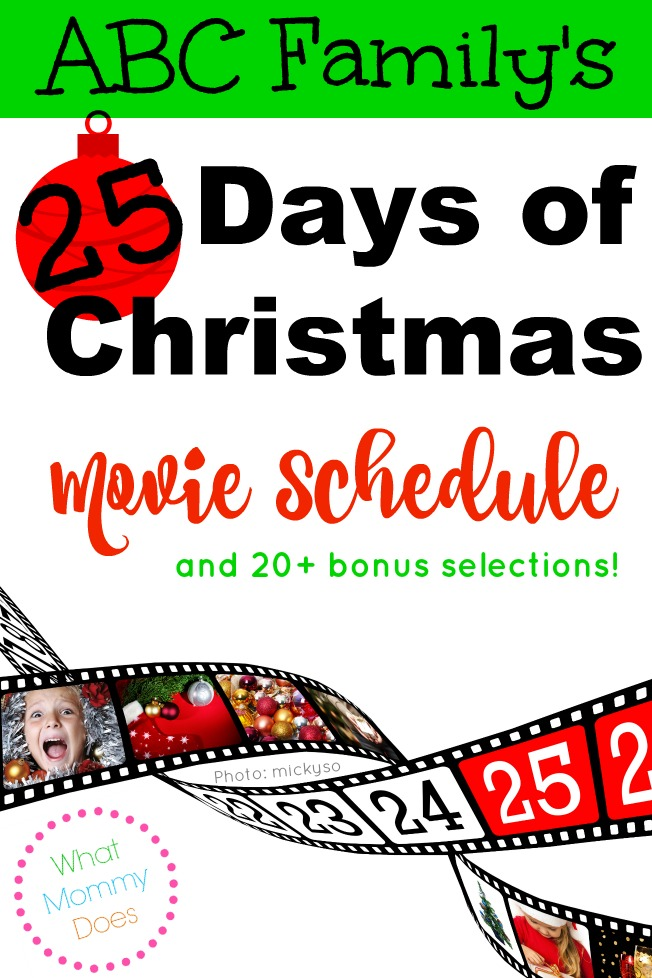 ABC Family 25 Days of Christmas Movie Schedule