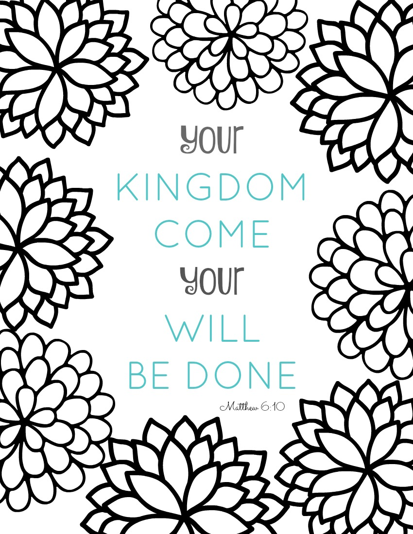 Coloring pages with bible verses -  Bible Verse Coloring Page Your Kingdom Come Your Will Be Done