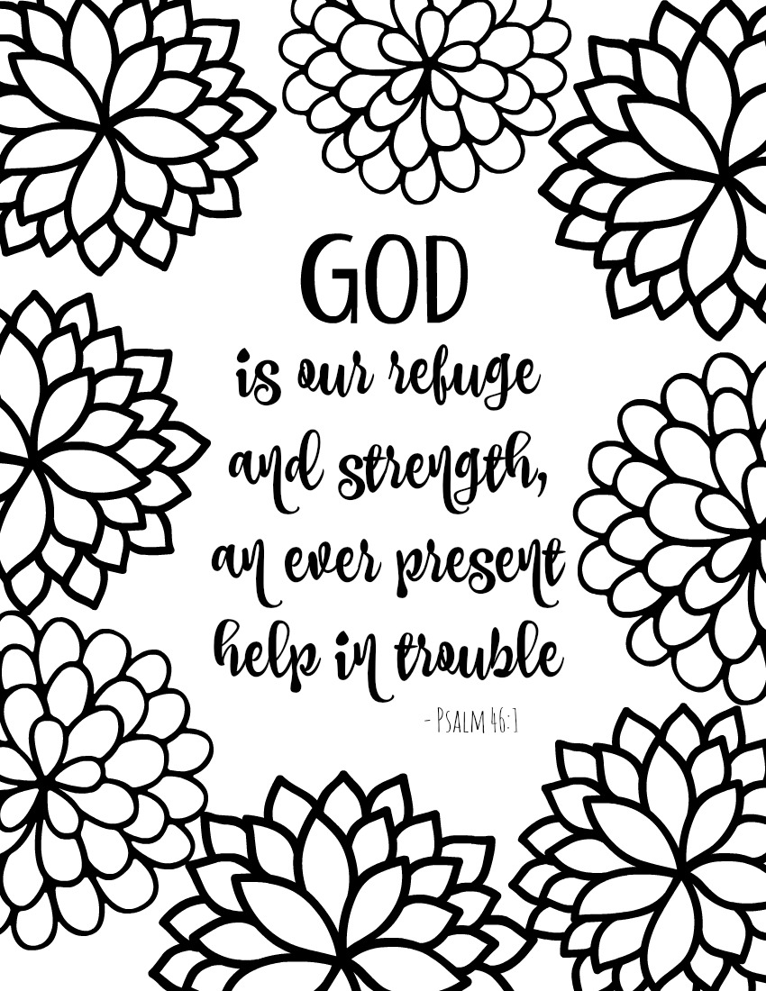 Coloring Pages Printable Religious Coloring Pages free printable bible verse coloring pages with bursting blossoms god is our refuge