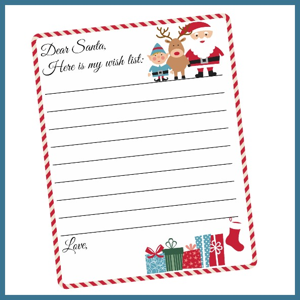 Christmas List Printable.Free Printable Letter To Santa Template Cute Christmas