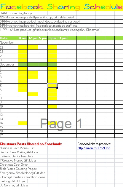 Facebook post sharing schedule editable excel template for Facebook posting schedule template