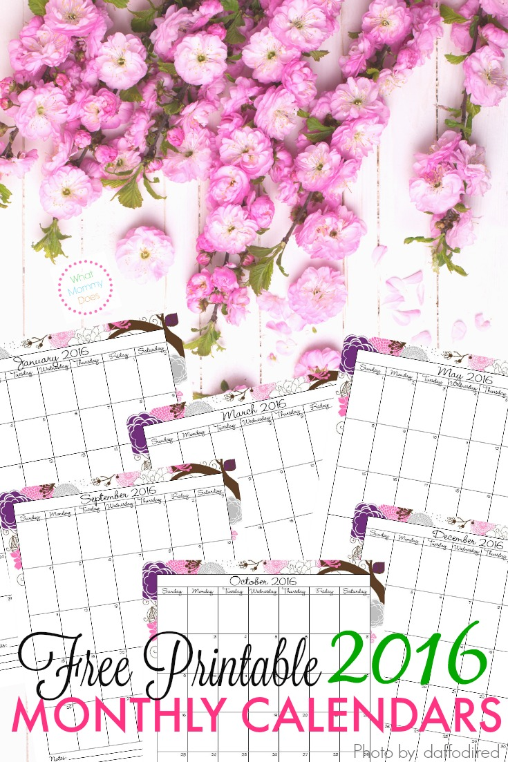 Free Printable 2016 Monthly Calendar – Printable Monthly Calendars