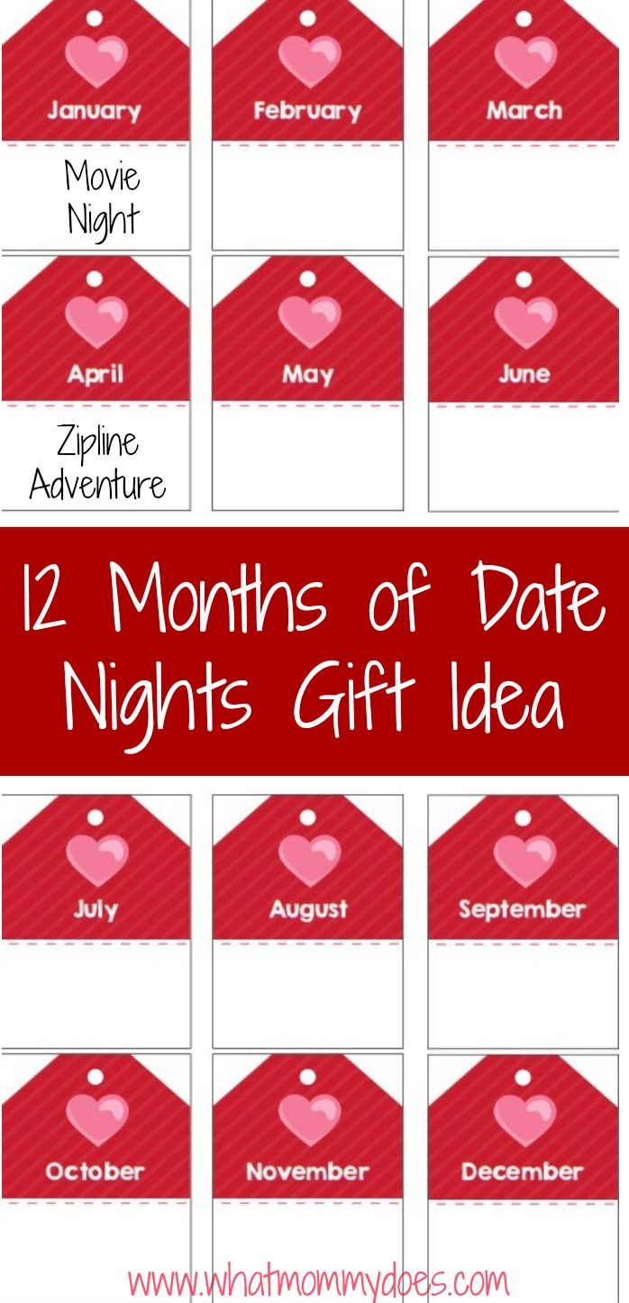 Grab these free printable tags to create your own set of 12 monthly date night ideas. Perfect for your husband or boyfriend! Get creative & do something romantic at home or go on a fun adventure. These are great for Valentine's Day, anniversaries, birthdays, or even Christmas gifts!