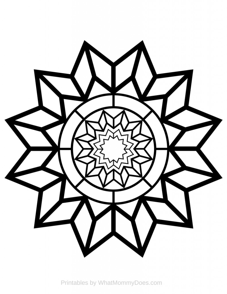 Free printable adult coloring page detailed star pattern for Coloring pages to print for adults