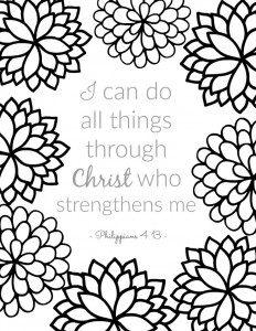 Scripture Verse Coloring Sheet from Philippians - part of a series of free printable adult coloring pages for Christians. Inspirational Bible verses are a perfect companion to Bible study or just for quiet time. They're for grown ups AND children.