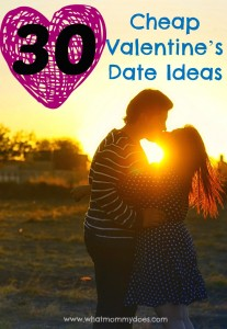 Here are 30 creative & frugal Valentine's Day date night ideas to go on with your husband or boyfriend. Some for at night, some during the day, some at home, some not. 100% fun and from the heart…that's what matters!