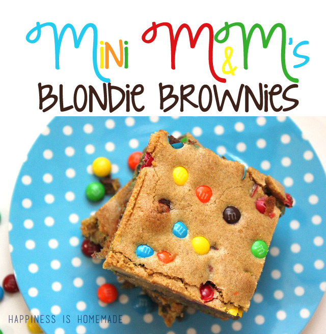 Mini M&Ms Blondie Brownie Recipe from Happiness is Homemade
